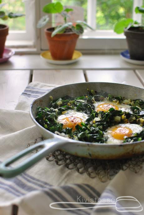 Swiss chard, cavolo nero and eggs www.kivistossa.com