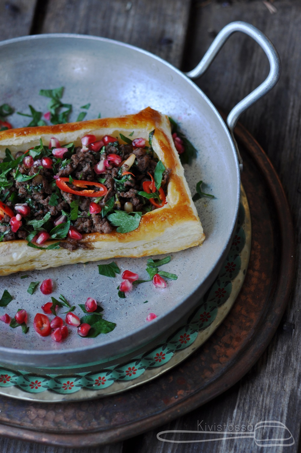 www.kivistossa.com Lebanese Lamb Tart by Delicious Magazine